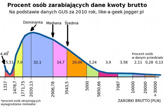 Struktura wynagrodzeń brutto za 2010 rok - wykres
