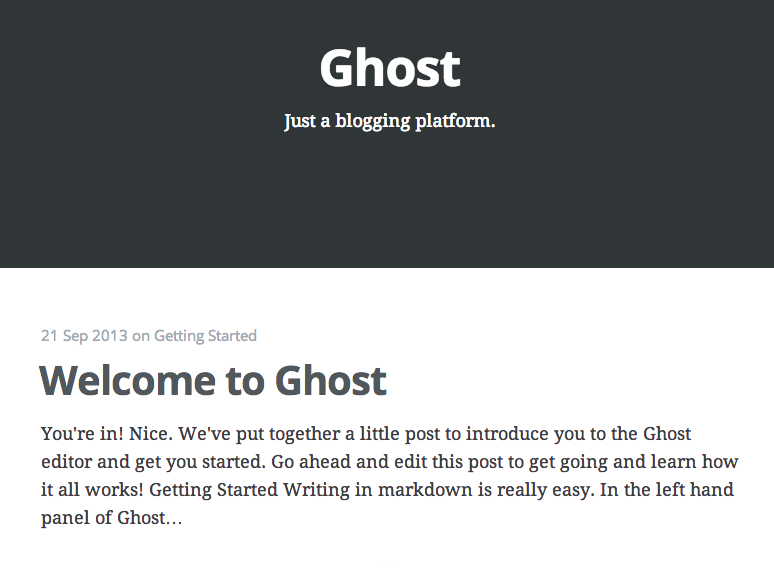 The Ghost Default Page