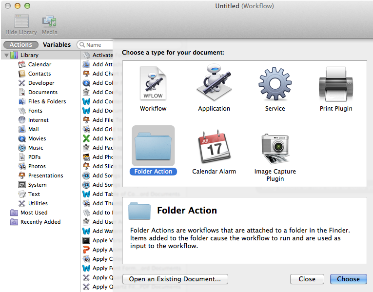New Automator Folder Action