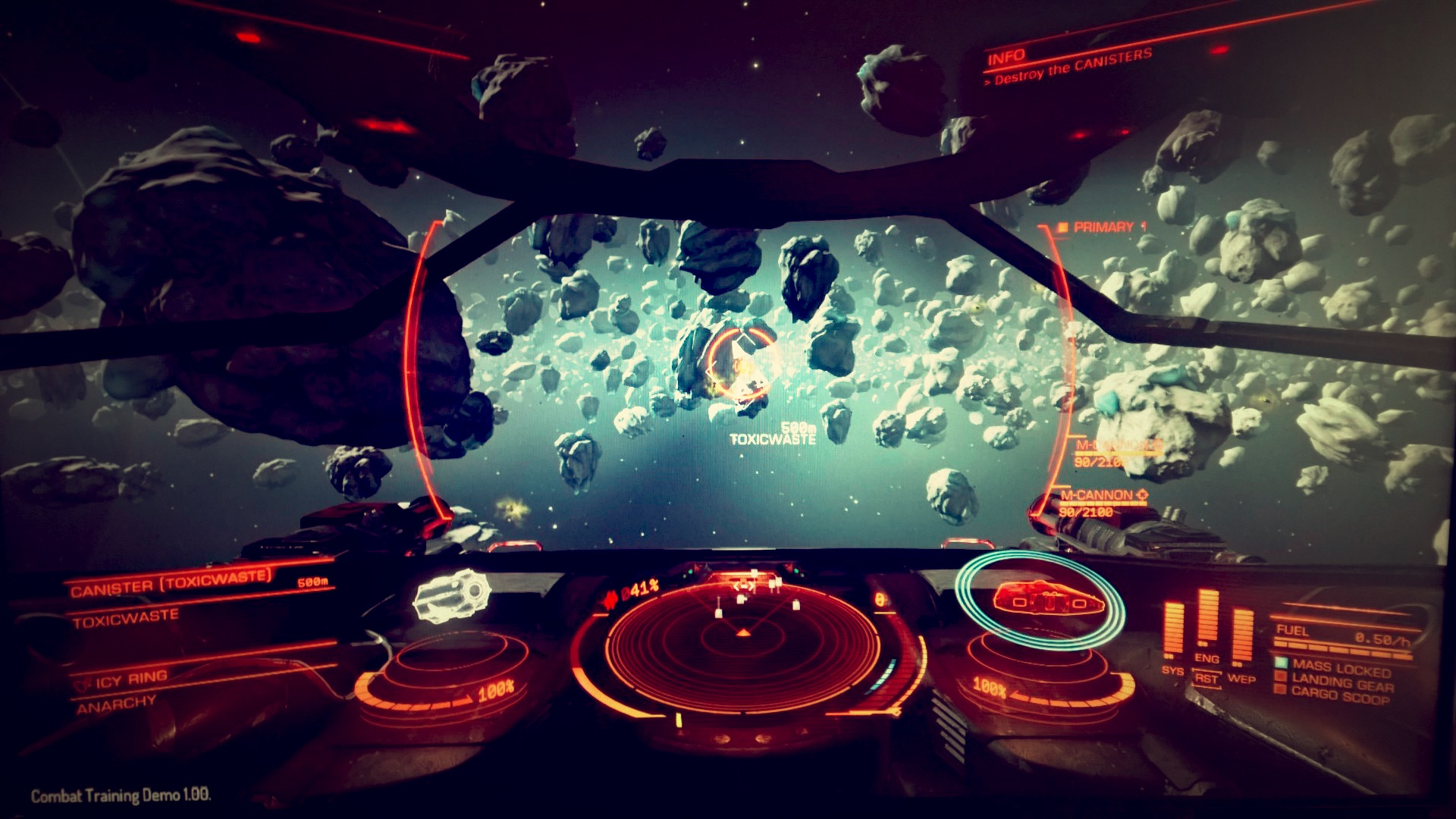 Scene from Elite:Dangerous looking over an asteroid field from the cockpit of a Sidewinder