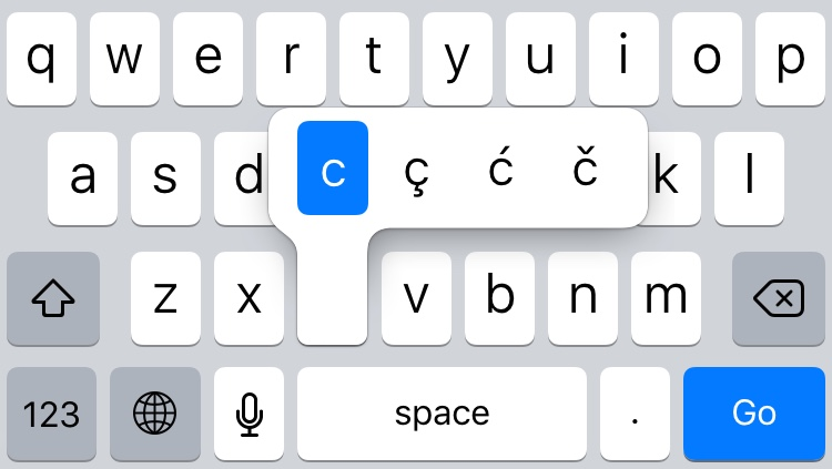 iOS keyboard special keys