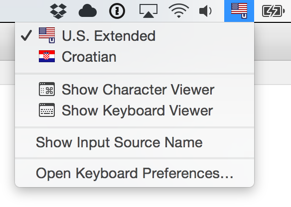 U.S. Extended chosen in Input Sources settings