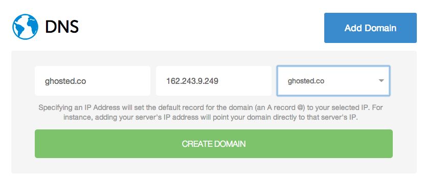 DNS Config at DigitalOcean