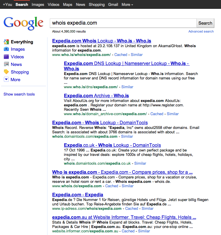 Search results for whois expedia.com