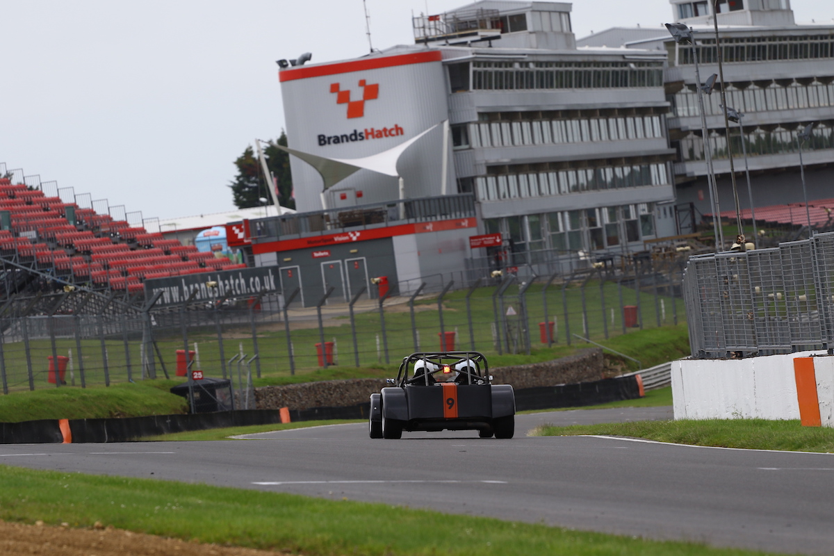 Driving a Caterham onto the Brands Hatch start/finish straight