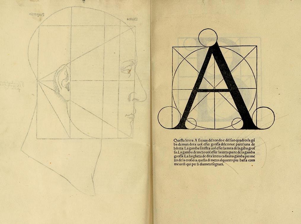 Luca Pacioli divina proportione alphabet