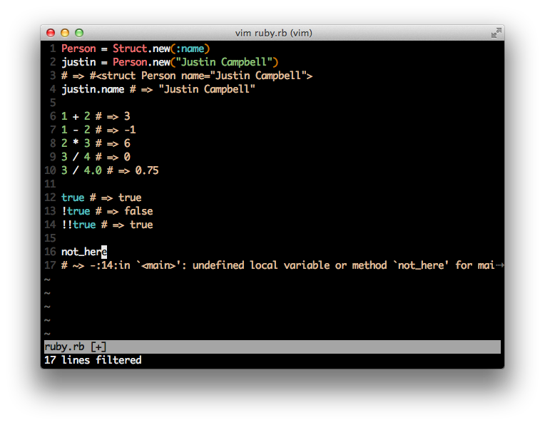 vim-ruby-xmpfilter screenshot