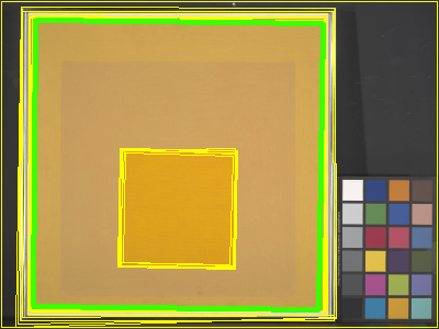 Cropping choices within a Josef Albers painting.