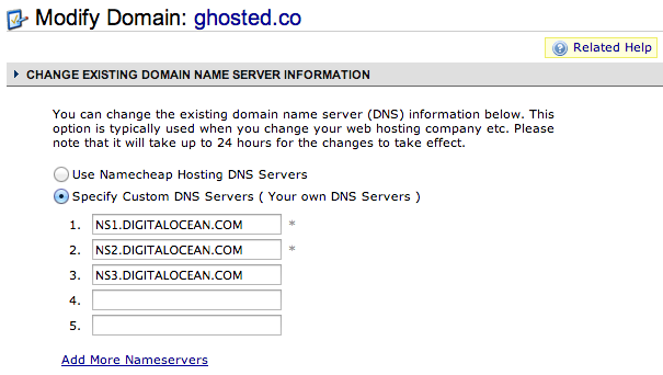 NameCheap DNS Config