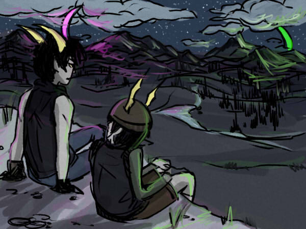 image of troll matt and tk on ledge overlooking valley at night