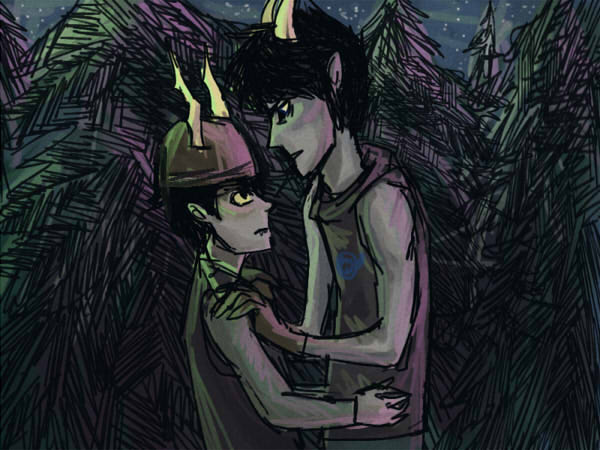 image of troll tk and troll matt looking at each other moirailishly by some pine trees at night