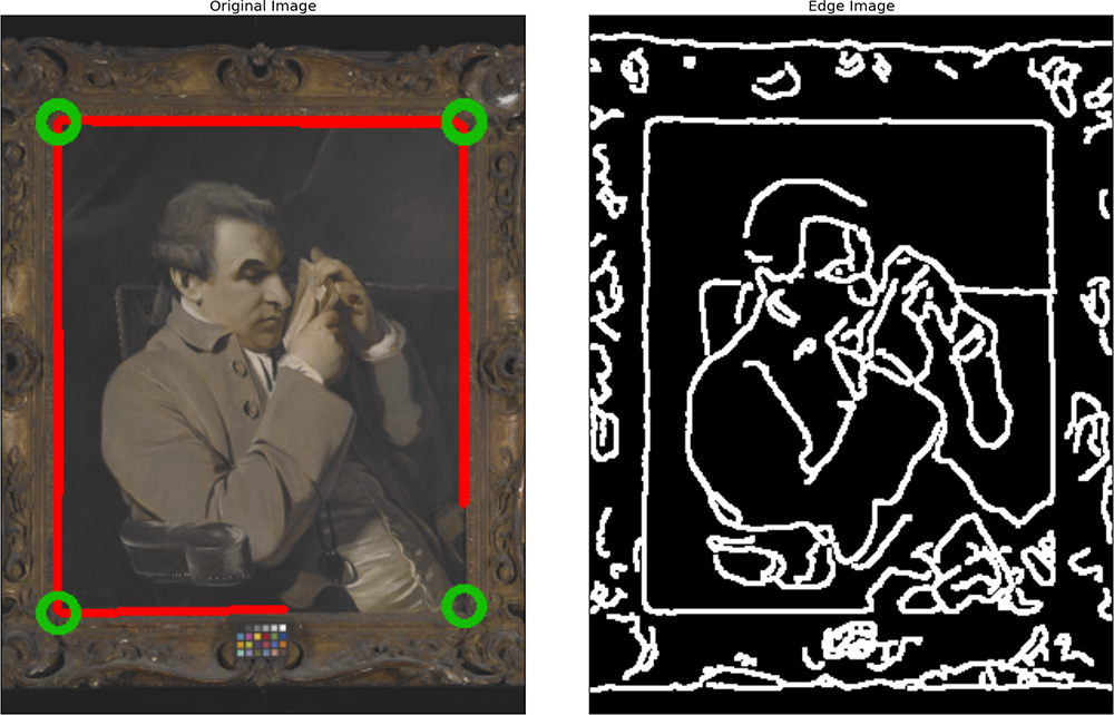 Corner detection working well. A high contrast background and a lack of geometrical shapes in the artwork led to occasional good performance. Open access image: 41-88.tif