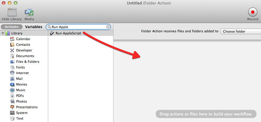 Drag Run AppleScript to Workflow