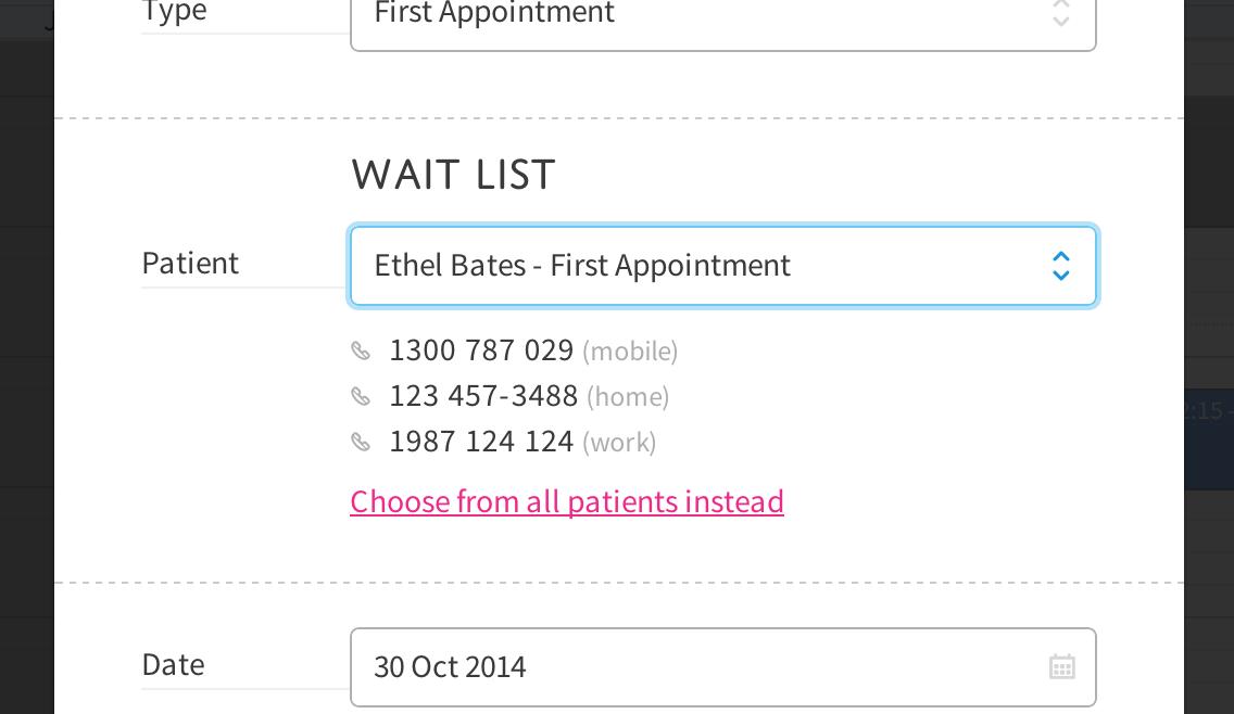 wait list appt phone numbers