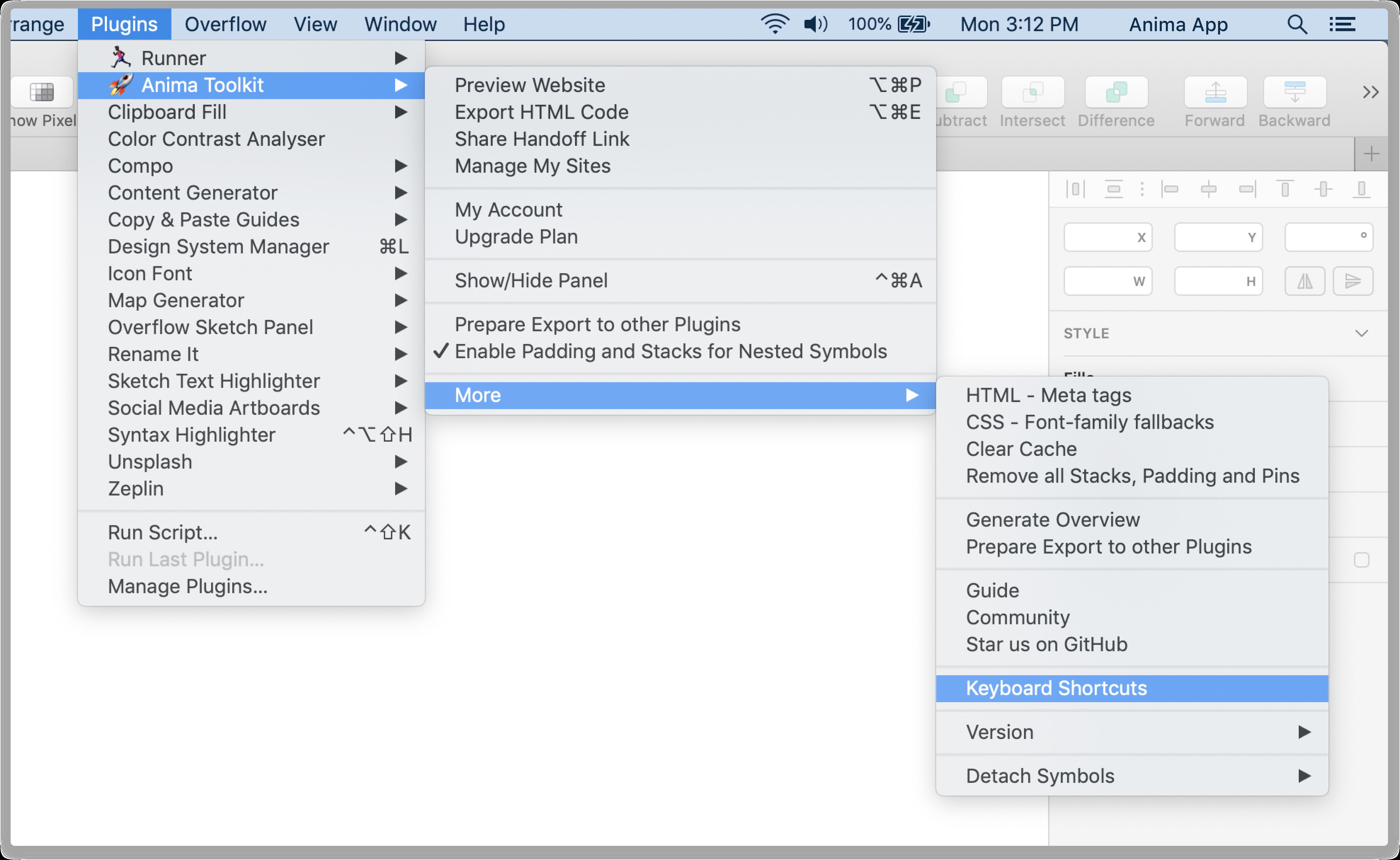 Layout Keyboard Shortcuts