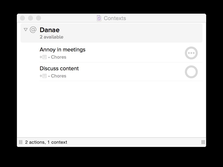 """OmniFocus context tasks for """"Danae"""""""