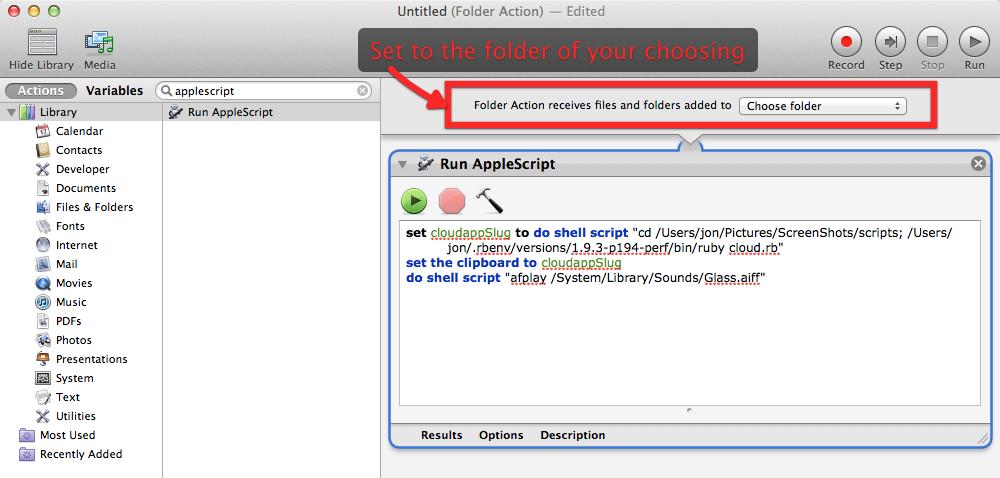 Configure AppleScript